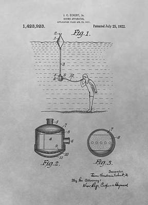 Under The Ocean Drawing - Diving Apparatus Patent Drawing by Dan Sproul