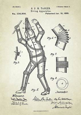 Diving Apparatus Patent Print by Us Patent And Trademark Office