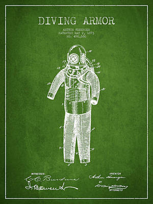 Diving Armor Patent Drawing From 1893 - Green Art Print by Aged Pixel