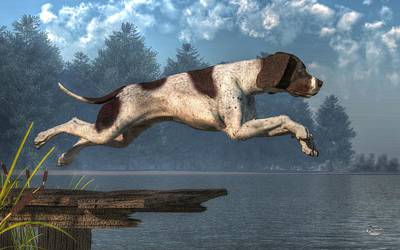 Diving Dog Art Print by Daniel Eskridge