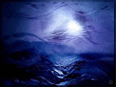 Abstract Seascape Digital Art - Diving Into The Blue by Gun Legler