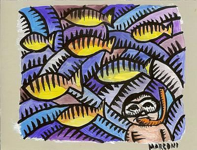 Painting - Diving On Saipan  by Marconi Calindas