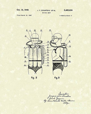 Scuba Diving Drawing - Diving Unit 1949 Patent Art  by Prior Art Design