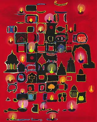 Painting - Diwali Diyas by Alika Kumar