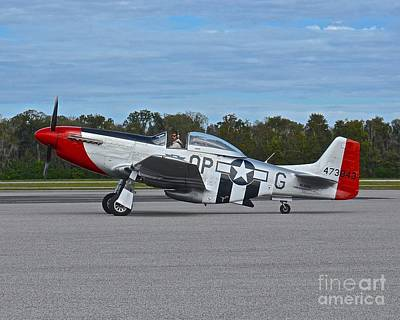 Photograph - Dixie Wing P-51 Red Nose by Carol  Bradley