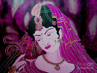 Painting - 	Diya Girl				 by Priyanka Rastogi