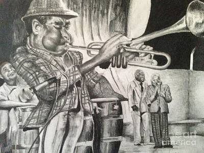 Trumpet Player Drawing - Dizzy G by Anthony Hurt