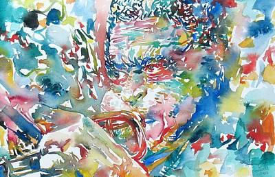 Trumpet Painting - Dizzy Gillespie Watercolor Portrait by Fabrizio Cassetta
