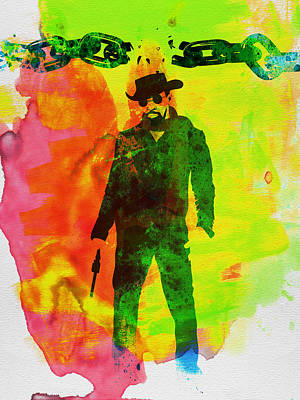Crime Drama Movie Painting - Django Unchained Watercolor by Naxart Studio