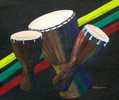 Drawing - Djembe Drums by Vic Delnore