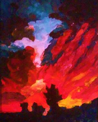 Painting - Dk Sunset by Ray Khalife