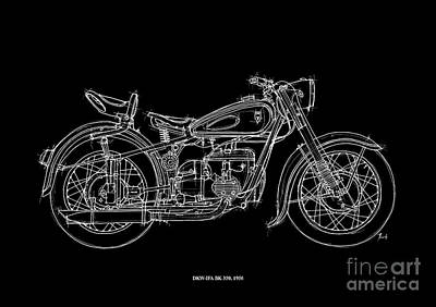 Black Background Drawing - Dkw Ifa Bk 350 1956 by Pablo Franchi