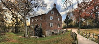 Sloan Park Kerr Grist Mill Panorama Art Print by Adam Jewell
