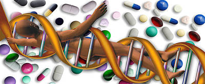 Dna Surrounded By Pills Art Print by Panoramic Images