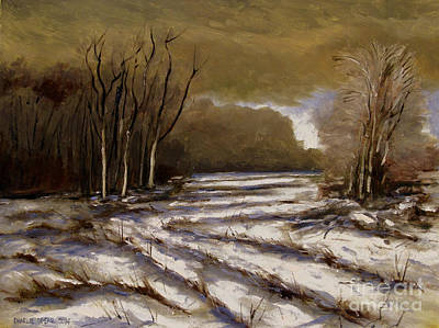 Snowscape Painting - D N R Service Road Closed Retouch by Charlie Spear