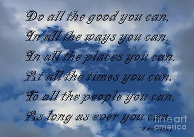 Do All The Good You Can Art Print by Barbara Griffin