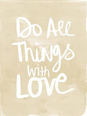 Wood Art Painting - Do All Things With Love- Inspirational Art by Linda Woods