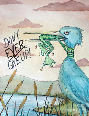 Blue Heron Painting - Do Not Ever Give Up by Joey Nash