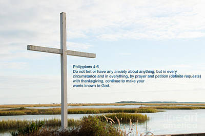 Belin Church Cross At Murrells Inlet With Bible Verse Art Print