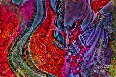 Do Not Let The Music Die Digital Guitar Art By Steven Langston Art Print by Steven Lebron Langston
