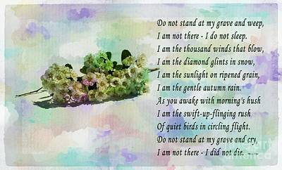 Do Not Stand At My Grave And Weep Art Print by Barbara Griffin