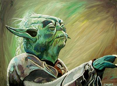 Outer Space Painting - Do Or Do Not    There Is No Try by Jeremy Moore