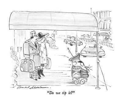 Do We Tip It? Art Print by Bernard Schoenbaum