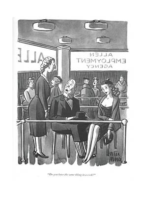 Drawing - Do You Have The Same Thing In A Cook? by Peter Arno