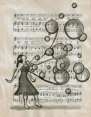 Sheet Music Drawing - Do You Remember by Lucy Stephens