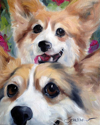 Dogs Painting - Do You See What I See by Mary Sparrow