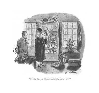 Storefront Drawing - Do You Think A Siamese Cat Could Tip It Over? by Helen E. Hokinson