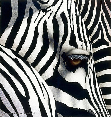 Zebra In Painting - do zebras dream in color? by Will Bullas by Will Bullas