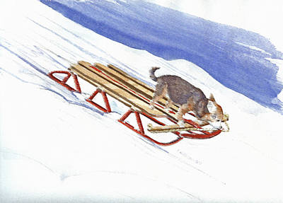 Painting - Dobby Sledding Downhill  by P Anthony Visco