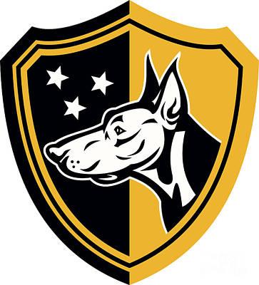 Doberman Guard Dog Stars Shield Art Print by Aloysius Patrimonio