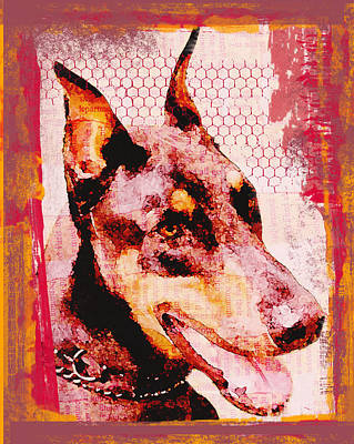 Doberman Love Art Print by Lisa Noneman