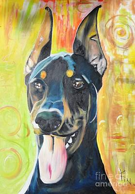 Doberman Art Print by PainterArtist FIN