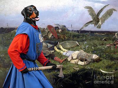 Doberman Pinscher Wall Art - Painting - Doberman Pinscher Art - After The Battle by Sandra Sij