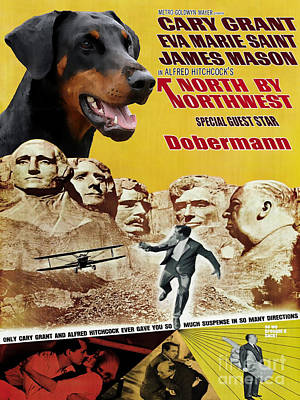 Doberman Pinscher Wall Art - Painting - Doberman Pinscher Art Canvas Print - North By Northwest Movie Poster by Sandra Sij