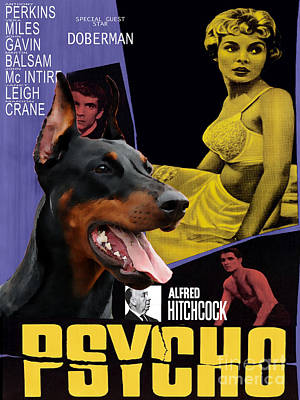 Doberman Pinscher Wall Art - Painting - Doberman Pinscher Art Canvas Print - Psycho Movie Poster by Sandra Sij