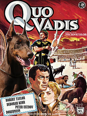 Painting - Doberman Pinscher Art Canvas Print - Quo Vadis Movie Poster by Sandra Sij