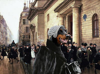 Painting - Doberman Pinscher Art Canvas Print - The Black Lady by Sandra Sij