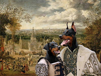 Painting - Doberman Pinscher Art Canvas Print - The Fair And Couple by Sandra Sij