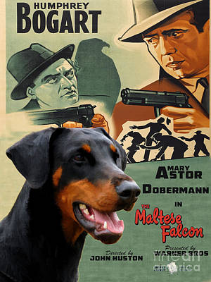 Maltese Painting - Doberman Pinscher Art Canvas Print - The Maltese Falcon Movie Poster by Sandra Sij
