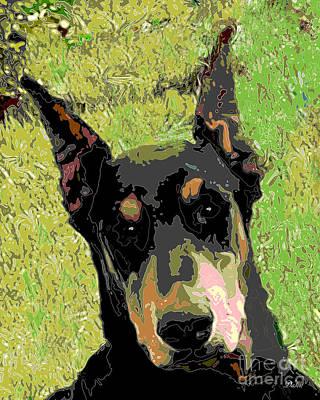 Doberman Pinscher Pop Art Digital Art - Doberman Pinscher by Dalon Ryan