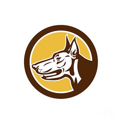 Police Dog Digital Art - Doberman Pinscher Head Circle Retro by Aloysius Patrimonio
