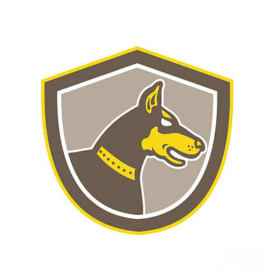 Mastiff Digital Art - Doberman Pinscher Head Shield Retro by Aloysius Patrimonio