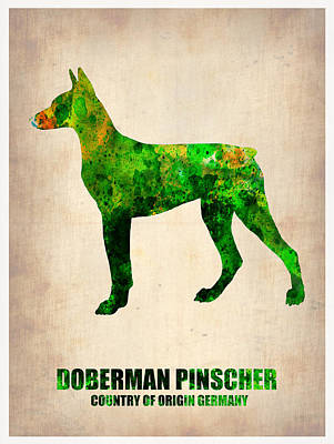 Cute Dog Digital Art - Doberman Pinscher Poster by Naxart Studio