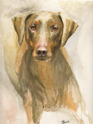 Doberman Art Painting - Doberman Portrait by Angel Ciesniarska