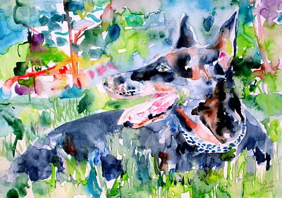 Doberman Pinscher Wall Art - Painting - Doberman - Watercolor Portrait by Fabrizio Cassetta