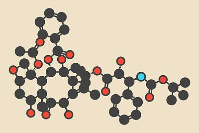 Docetaxel Cancer Drug Molecule Art Print by Molekuul